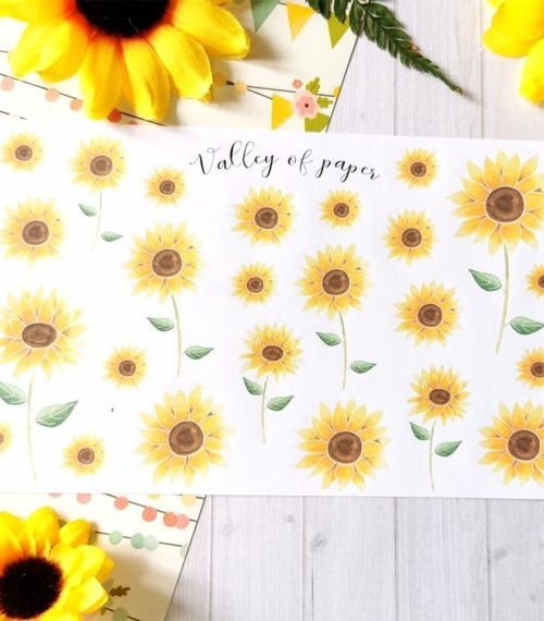 Planche de 24 stickers tournesols de Valley of paper