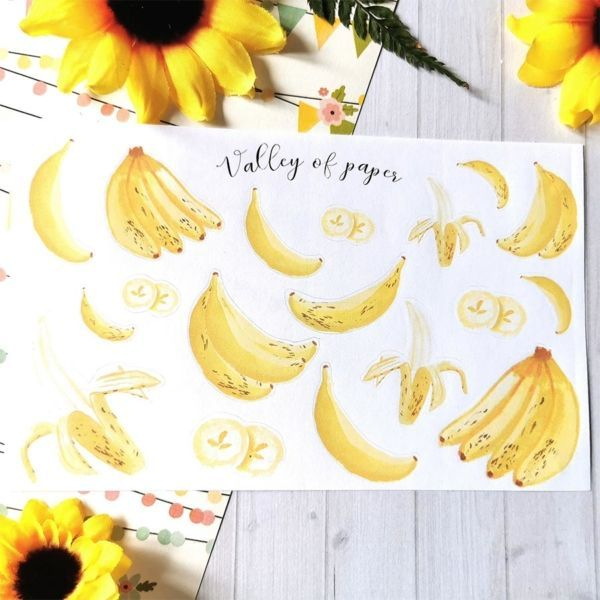 Planche de 18 stickers Fête de la banane de Valley of paper