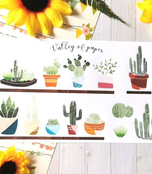 Planche de 16 stickers L'atelier des cactus de Valley of paper