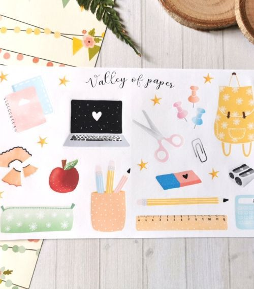 Planche de 25 stickers planner et bujo Back to school de Valley of paper