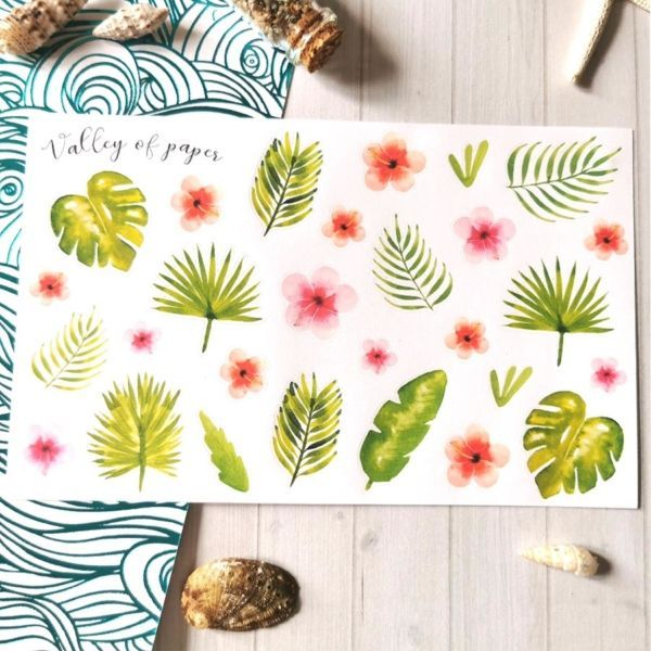 Planche de 28 stickers Petite jungle luxuriante de Valley of paper
