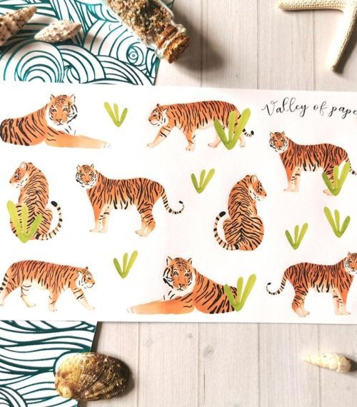 Planche de 14 stickers Eye of the tiger de Valley of paper