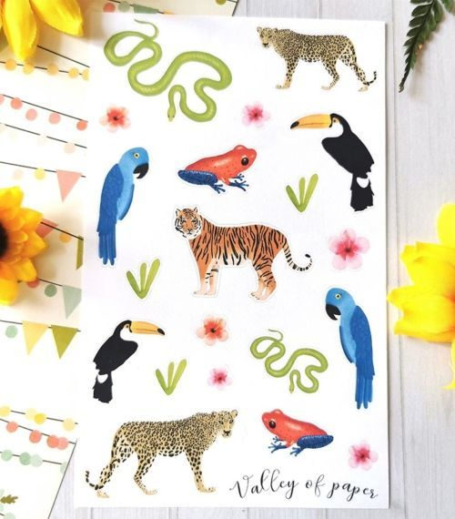 Planche de 19 stickers pour planner et bujo Jungle boogie de Valley of paper