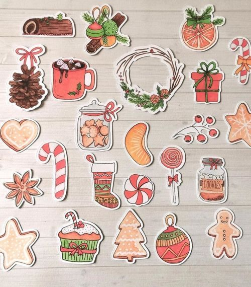 Lot de 24 embellissements die cuts Noël Gourmand Les BiGriBons detail