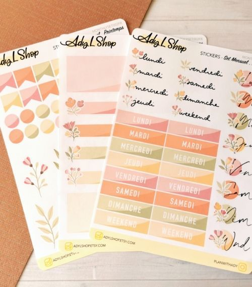 Set de 3 planches de stickers organisation Printemps pour planner ou bujo AdyLShop