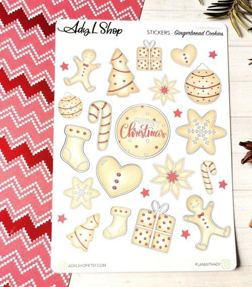 26 stickers Gingerbread Cookies pour planner ou bujo AdyLShop