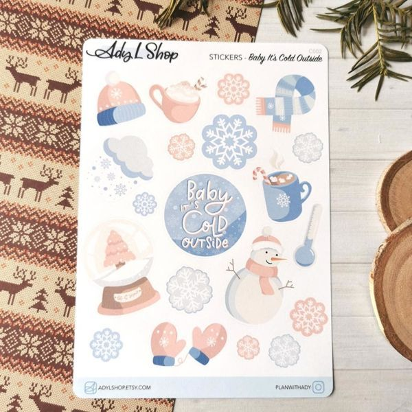 20 stickers organisation Baby It's cold outside pour planner ou bujo AdyLShop