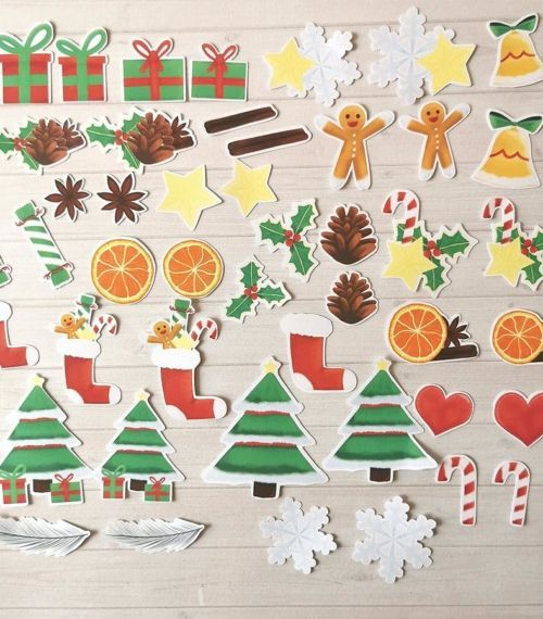 Lot de 44 Embellissements Die Cut Noël traditionnel pour planner ou bujo