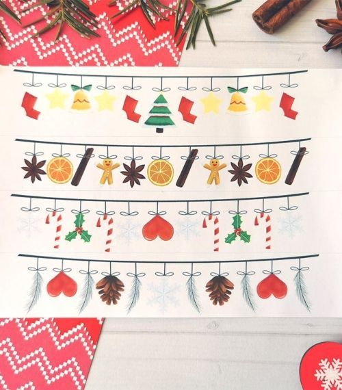 4 stickers Washi Tape Noël traditionnel pour planner ou bujo
