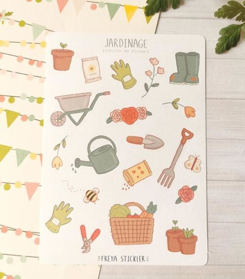 20 stickers planner et bujo Jardinage Freya Stickler