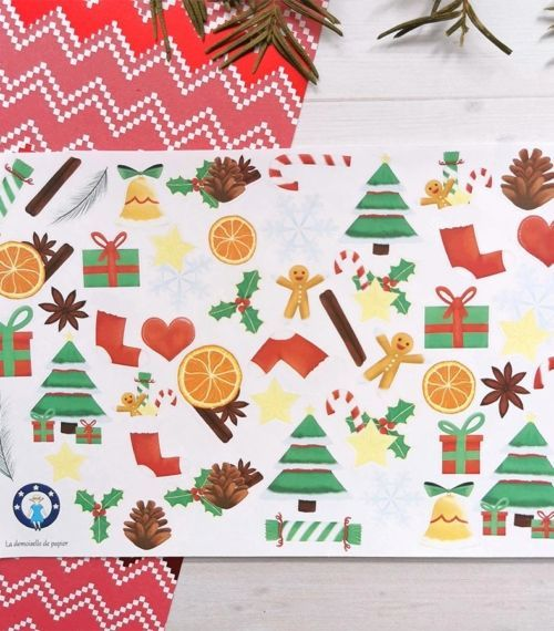 44 stickers Noël traditionnel pour planner ou bujo