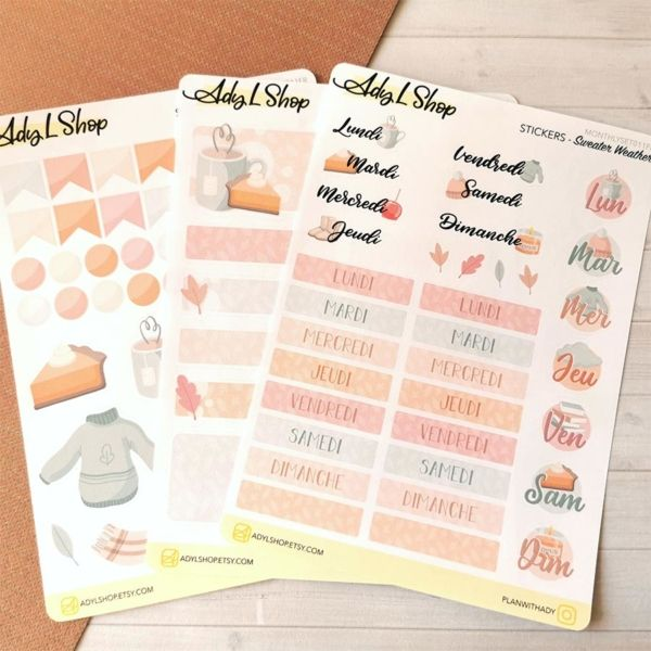 Set de 3 planches de stickers organisation Sweater Weather pour planner ou bujo AdyLShop