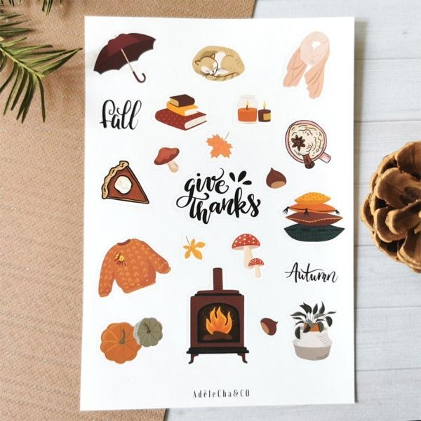 20 stickers planner et bujo Thanksgiving AdeleCha