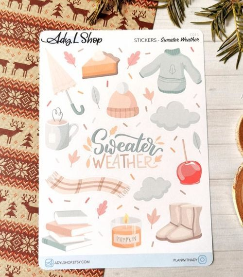 21 stickers Sweater Weather pour planner ou bujo AdyLShop