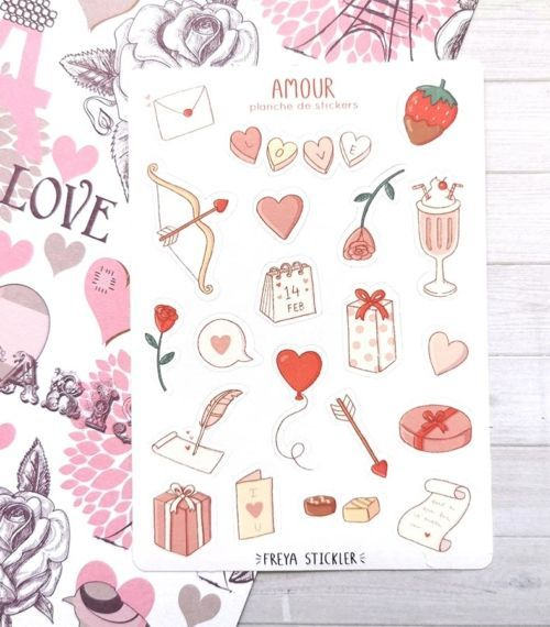 20 stickers planner et bujo Amour Freya Stickler