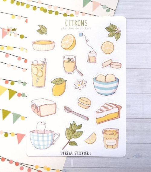 20 stickers planner et bujo Citrons Freya Stickler