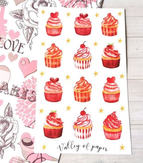 30 stickers Cupcakes rouges pour planner et bujo de Valley of paper