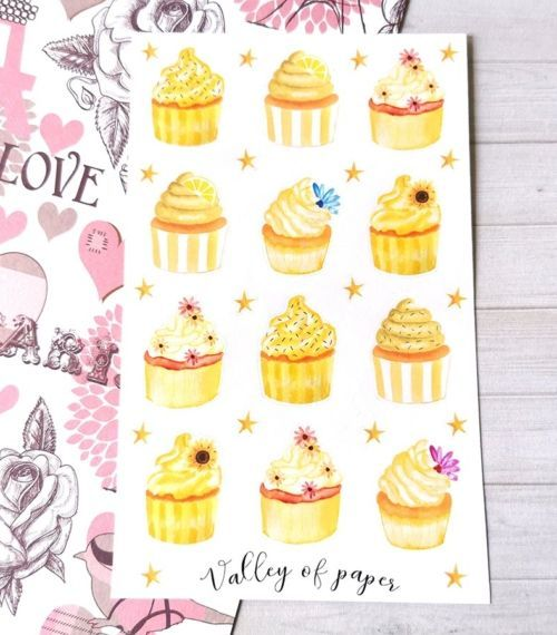 30 stickers Cupcakes jaunes pour planner et bujo de Valley of paper
