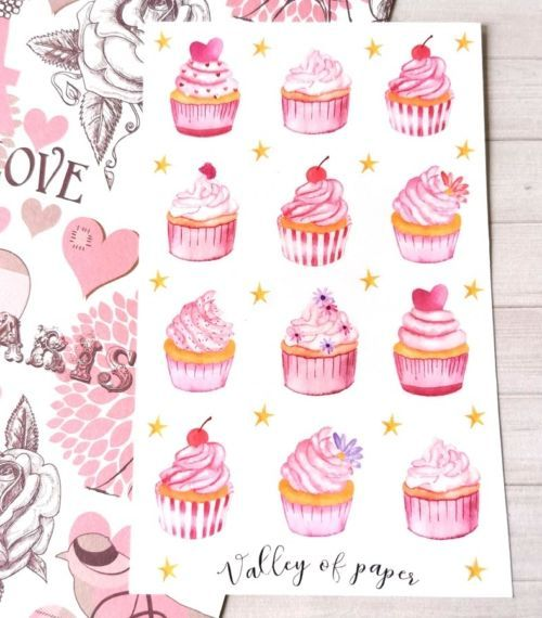 30 stickers Cupcakes roses pour planner et bujo de Valley of paper