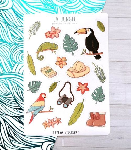 20 stickers planner et bujo Jungle Freya Stickler