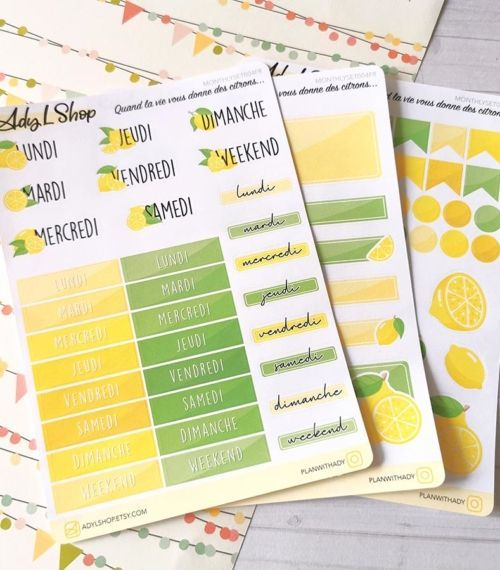 Set de 3 planches de stickers organisation Citrons pour planner ou bujo AdyLShop