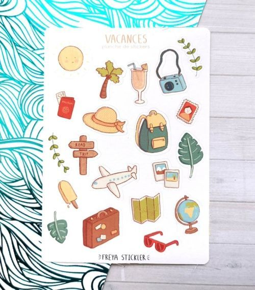 20 stickers planner et bujo Vacances Freya Stickler