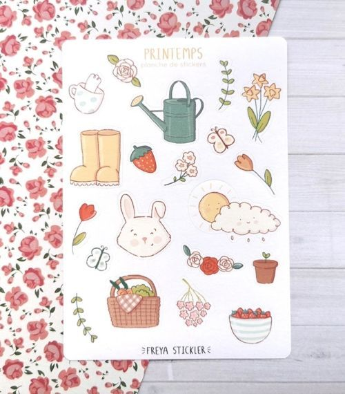 20 stickers planner et bujo Printemps Freya Stickler