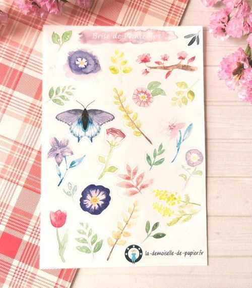 23 stickers Brise de printemps aquarelle planner et bujo